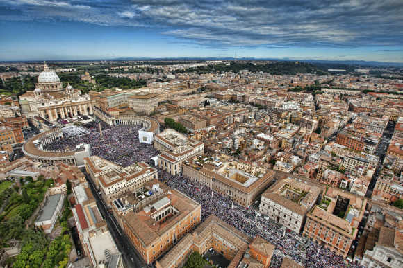 Aerial view of St Peter's square in Vatican.