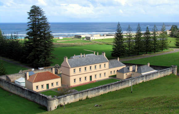 Old government buildings in Kingston, the capital of Norfolk Island.