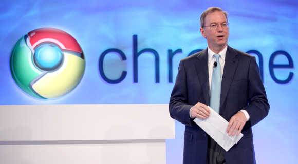 Google CEO Eric Schmidt speaks during the company's Chrome event in San Francisco.