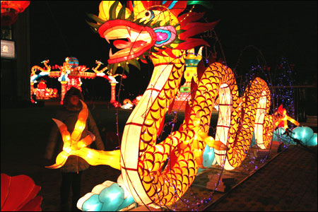 Lanterns decorated in the street to greet the Lantern Festival on February 5, 2012 in Taizhou, Jiangsu Province of China.