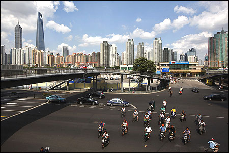 A view of the centre of Shanghai, near the Pudong Lujiazui financial area.
