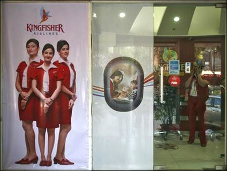 An employee in the Kingfisher Airlines office in New Delhi.