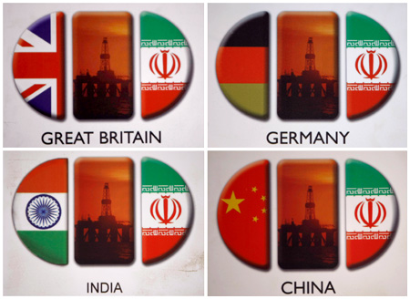 A combination photos shows images of signs on the booths of foreign participants at the 16th International Oil, Gas & Petrochemical Exhibition (IOGPE) in Tehran.