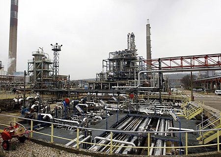 View of the independent European Petroplus Refinery site in Petit Couronne, one of the company's five sites in Europe.