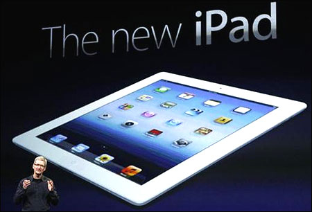 Apple CEO Tim Cook speaks while launching the new iPad.