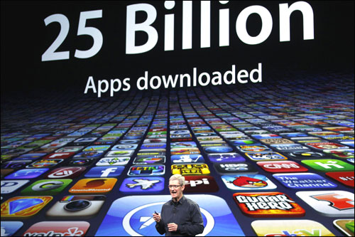 Apple CEO Tim Cook speaks about the number of Apps downloaded.