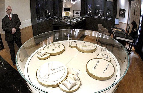 A general view shows jewellery and watches displayed in glass cabinets at a newly opened shop of Swiss luxury brand Piaget at the Bahnhofstrasse in Zurich.