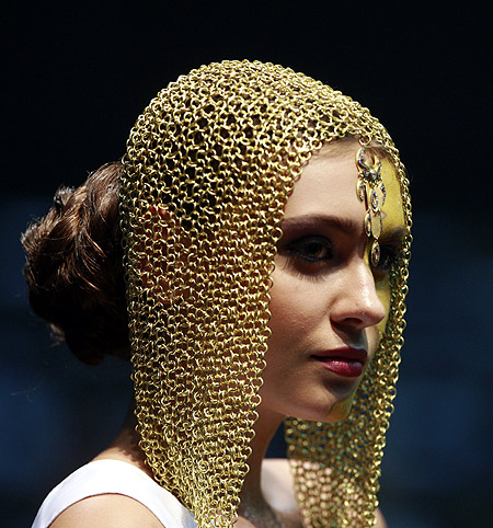 A model presents a creation by jewellery designer Mukhi during a show at Joaillerie Liban Exhibition 09 in Beirut.