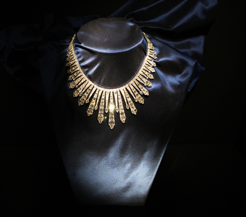 A diamond necklace owned by Princess Grace of Monaco is displayed at the Diamond Divas exhibition in Antwerp.