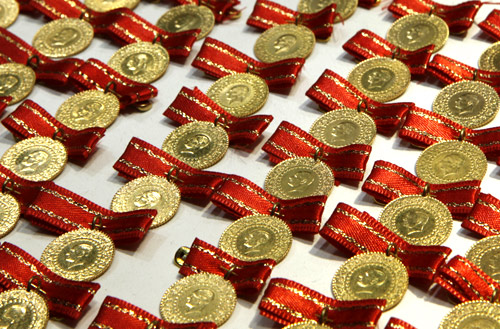 Gold sovereigns, portraying modern Turkey's founder Ataturk, are seen on sale at a jewellery shop in Istanbul.