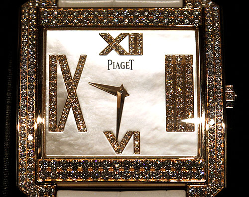 A watch is displayed in a glass cabinet at a newly opened shop of Swiss luxury brand Piaget at the Bahnhofstrasse in Zurich.
