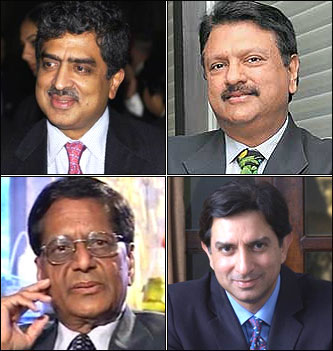 Top: Nandan Nilekani, Ajay Piramal; Bottom:  K Anji Reddy, Gautum Thapar.
