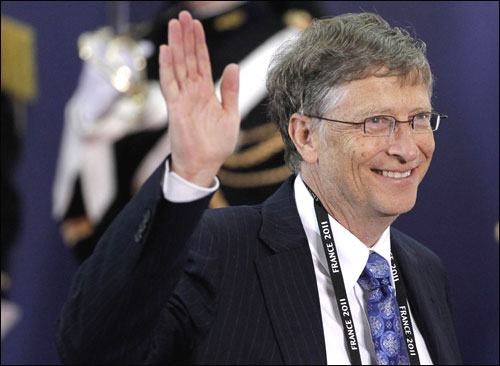 Bill Gates leaves the G20 Summit on November 3, 2011 in Cannes, F