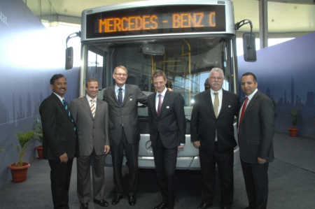 Left to right: Srinivas Chilukuri, Head of Bus sales India; Karim Ghabbour, Founder and Managing Director, MCV; Hartmut Schick, Head of Daimler Buses; Markus Villinger, Head of Daimler Buses, India; Peter Honegg, CEO& MD Mercedes Benz India Ltd; and Maged Rasmy, Managing Director, MCV India.