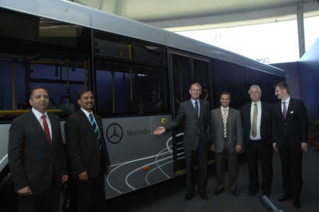 Left to right: Maged Rasmy, Managing Director, MCV India; Srinivas Chilukuri, Head of Bus sales India; Hartmut Schick, Head of Daimler Buses; Karim Ghabbour, Founder and Managing Director, MCV; Peter Honegg, CEO& MD Mercedes Benz India Ltd; and Markus Villinger, Head of Daimler Buses, India.