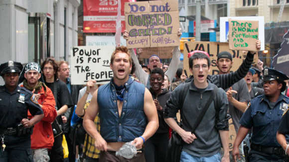 Here we take a look at some of the rising social problems in the US. A view of the Occupy Wall Street movement in New York.