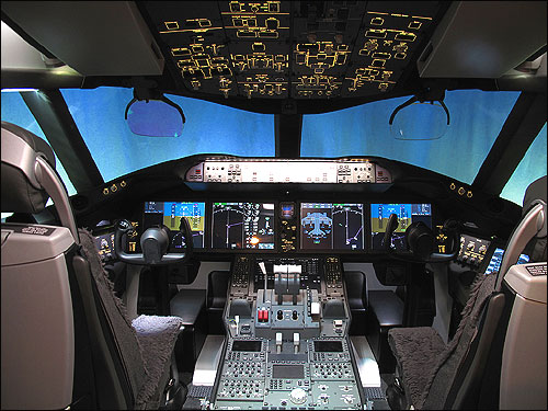 Cockpit of Boeing Dreamliner 787.