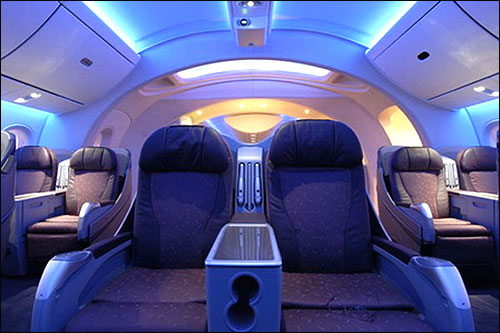 Interior of Boeing Dreamliner 787.