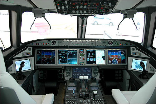 Cockpit of MS-21.