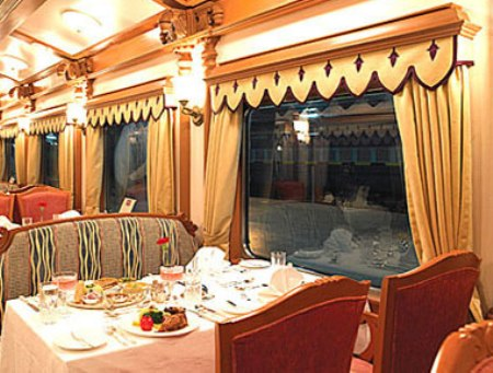 Plush interiors of the Golden Chariot.
