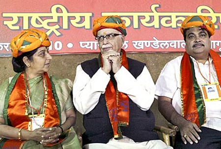 BJP leaders: (From left) Sushma Swaraj, L K Advani and Nitin Gadkari.