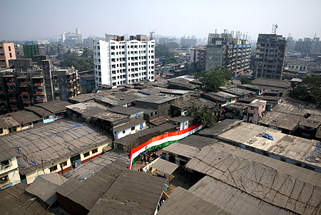 An Indian flag is pictured in a street in Dharavi, one of Asia's largest slums, in Mumbai.
