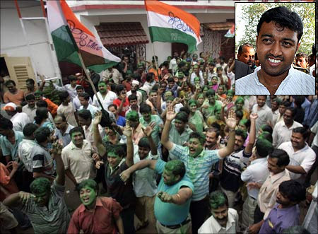 Trinamool supporters. (Inset) Subhrangshu Roy.