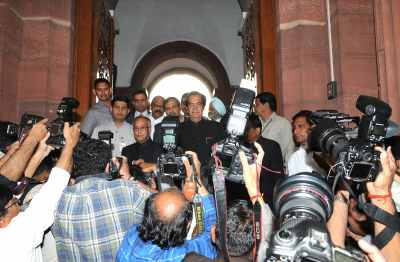 Pranab Mukherjee before at the Parliament House