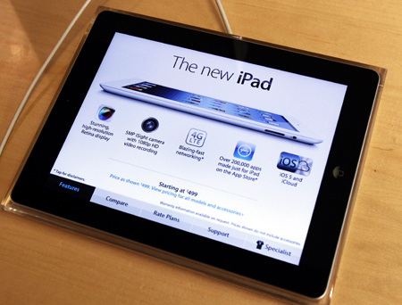 Apple's newest iPad is seen at the 5th Avenue Apple Store in New York.