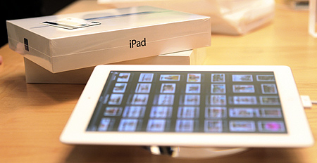 The new iPad is seen at the Apple flagship retail store in San Francisco, California.