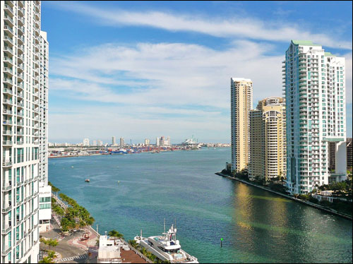 The mouth of the Miami River in Downtown Miami, Florida, United States.