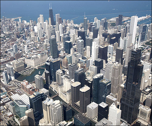 A view of the Chicago skyline.