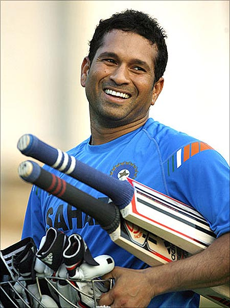 Sachin Tendulkar smiles during a practice session in Ahmedabad.