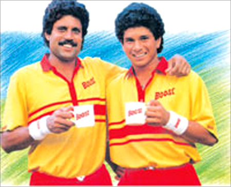 Kapil Dev and Sachin Tendulkar in the Boost Ad.