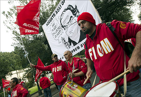 Workers from Italy's radical metalworkers union Fiom protest during a one-day strike in Rome.