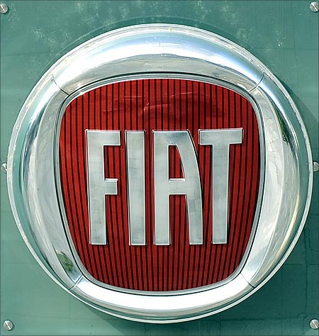 Fiat's logo is seen at Fiat Mirafiori car factory main entrance in Turin.