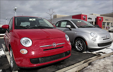 Newly delivered 2012 Fiat 500 vehicles sit on the lot at the Golling Fiat dealership in Bloomfield Hills, Michigan.