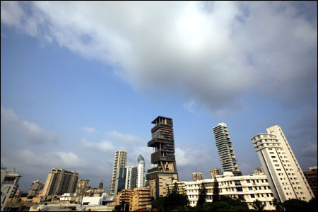 A view of the new house (C) of Mukesh Ambani.