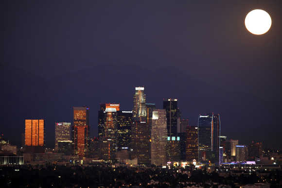 Los Angeles downtown skyline is pictured from the Baldwin Hills State Park, California.