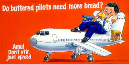 Image result for amul butter ad indian airlines