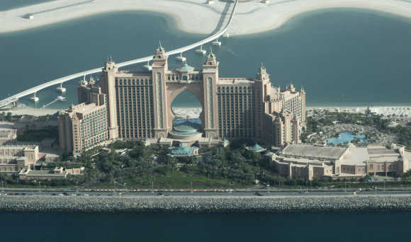 Aerial view of the Atlantis Hotel in Dubai