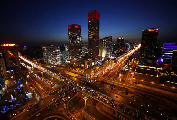 A view of the city skyline from the Zhongfu Building at night in Beijing.