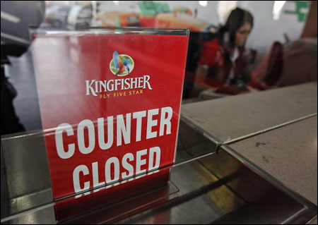 A Kingfisher Airlines counter at their booking office at Mumbai's domestic airport.