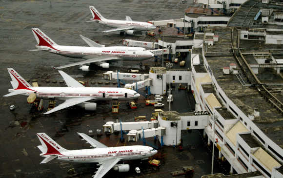 An aerial view of Air India planes parked at Bombay airport.