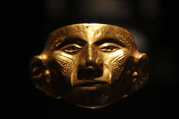 A pre-Columbian gold mask is seen at the Gold Museum in Bogota, Columbia.
