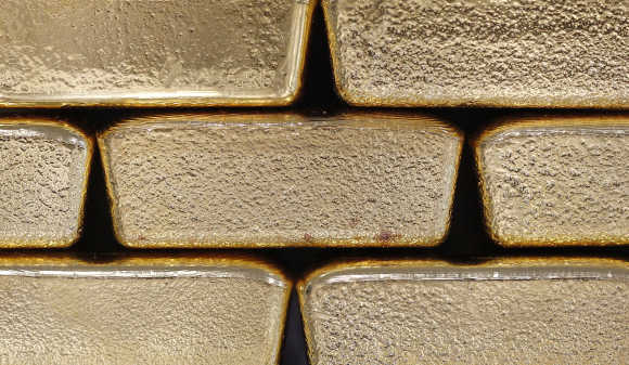 Gold bars are pictured at the Austrian Gold and Silver Separating Plant 'Oegussa' in Vienna.