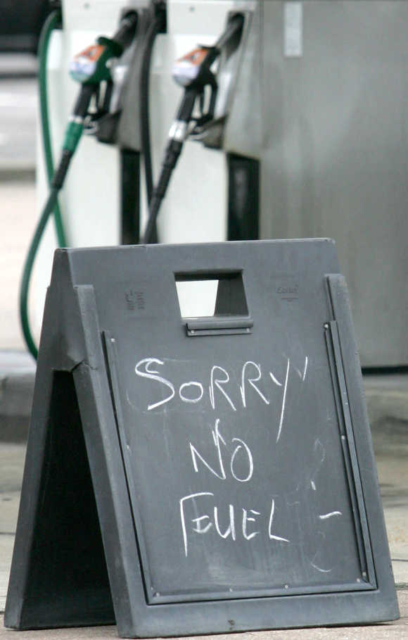 A sign is seen outside a petrol station in Brighton, southern England.