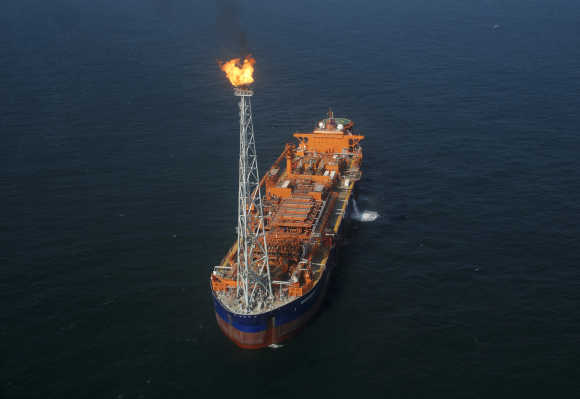 India's Reliance Industries KG-D6's floating production storage and offloading (FPSO) vessel is seen off the Bay of Bengal.