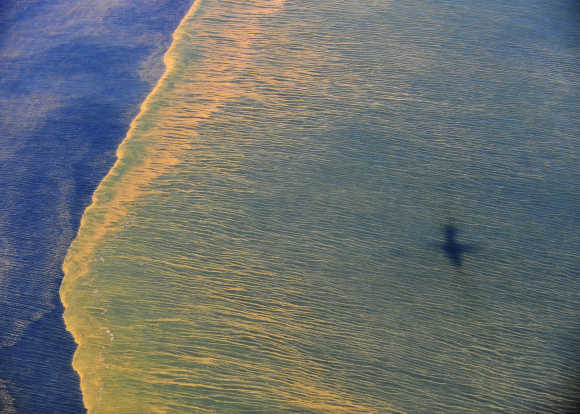 Oil is seen on the surface of the Gulf of Mexico.