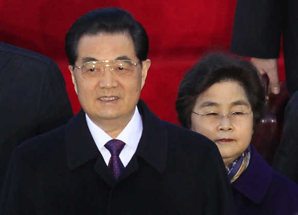 China's President Hu Jintao with his wife.